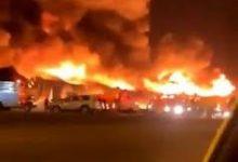 صورة شاهد.. حريق هائل في عدد من المستودعات على طريق الرياض الخرج · صحيفة عين الوطن