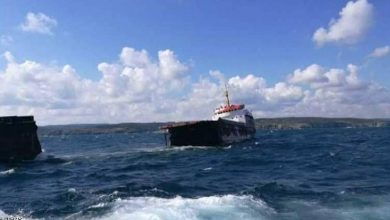 صورة غرق سفينة شحن روسية قبالة ساحل تركيا على البحر الأسود