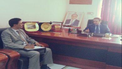 صورة لقاء يجمع عميد كلية المجتمع بشبوة ووزير التعليم العالي والفني والمهني
