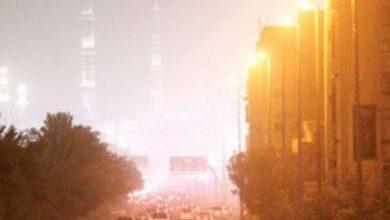 صورة رياح نشطة وأتربة مثارة على منطقة المدينة المن
