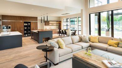 صورة أفكار لدمج غرفة المعيشة والمطبخ