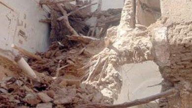 صورة انهيار سقف منزل مكون من 3 طوابق بالمنيا دون أضرار بشرية