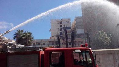 صورة حريق هائل في مخزن قطع غيار سيارات بطنطا