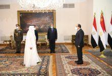 صورة سفير الإمارات يقدم أوراق اعتماده إلى الرئيس المصري