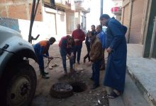 صورة صيانة خطوط الصرف وإصلاح هبوط أرضي في 3 مدن بكفر الشيخ