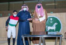 """صورة """"درواس"""" و""""مغناج"""" أبطال كأسيي المدينة وجامعة الإمام لسباقات الخيل"""