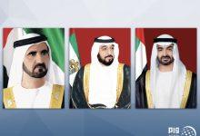 صورة رئيس الدولة ونائبه ومحمد بن زايد يهنئون الرئيس السوري باليوم الوطني لبلاده