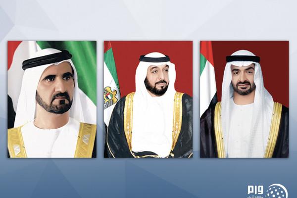 رئيس الدولة ونائبه ومحمد بن زايد يهنئون الرئيس السوري باليوم الوطني لبلاده