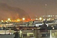 صورة صاروخ يستهدف قاعدة أمريكية في مطار أربيل بالعراق
