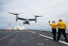 """صورة هبوط أول طائرة """"MV-22B"""" على سطح سفينة مستشفى ( فيديو)"""
