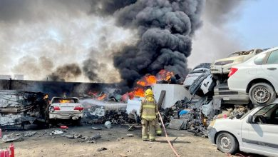 أربعة فرق إطفاء تسيطر على حريق اندلع في سكراب النعايم